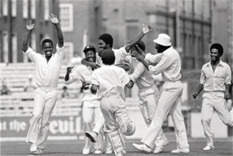 West Indies team  celebrate during 5th Test vs England at the Oval, 1976