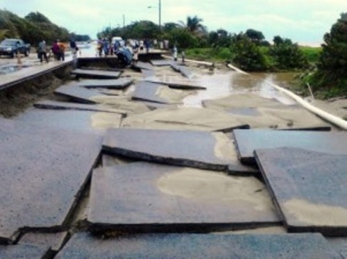 Damaged taxiway in Vieux Fort